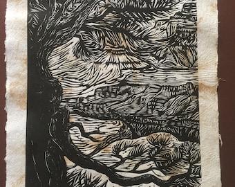 Grand Canyon Through the Trees Colorado River Original Woodcut Handmade Paper