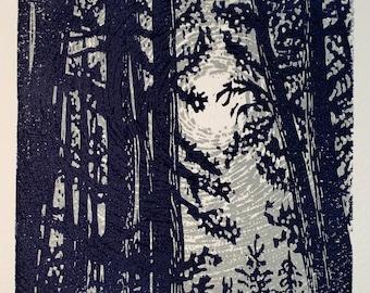Original Woodcut Print Night Pine Trees Silver Moon Light All is Calm