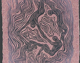 Woodblock Print Floating World IV Dancing Figures Surreal Woodcut on Hickory Handmade Paper