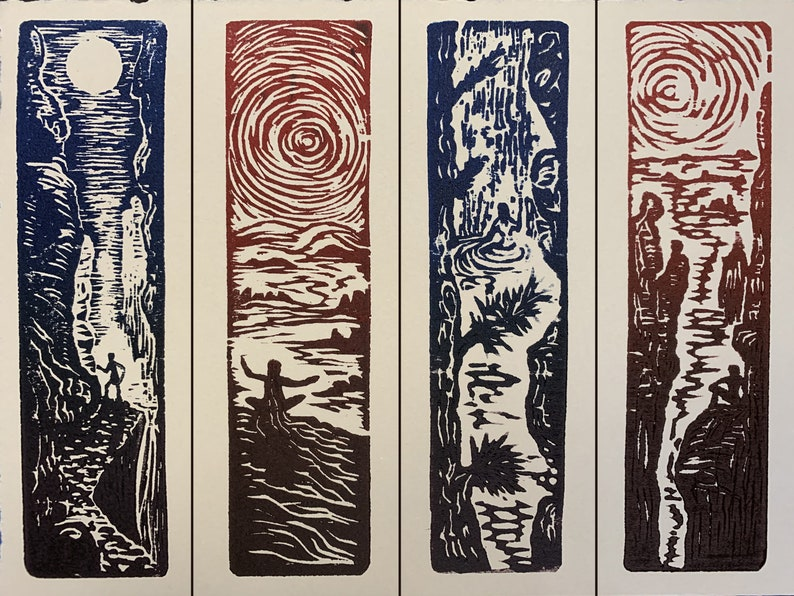 SET 4 Original Woodcut Prints Day in Nature Collection for image 0