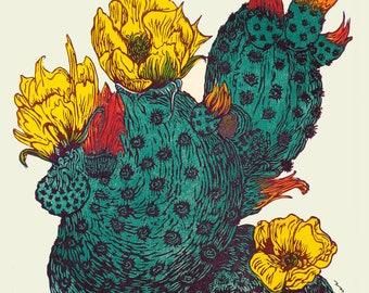Color Southwest Vegas Neon Bright Fine Art Print Prickly Pear Cactus Flowers