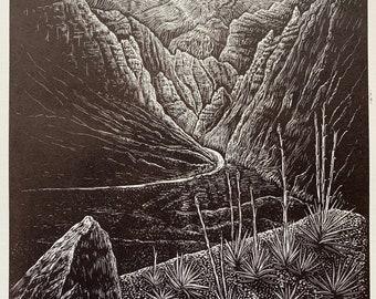 Wood engraving Print Original Woodcut Follow the Light Wood Engraving Southwest Desert Nevada Landscape