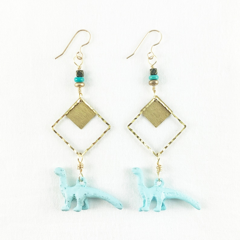 Adorable Dinosaur Earrings  Dazzling Brass  Cute  Dino  image 0