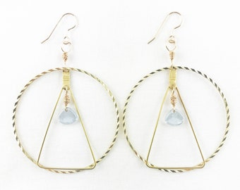 Dazzling Brass Hoop & Triangle With Czech Glass Beads Hoop Earrings - Lightweight - Dainty - Spring Fashion -Geometric - A+ Excellent Gift!