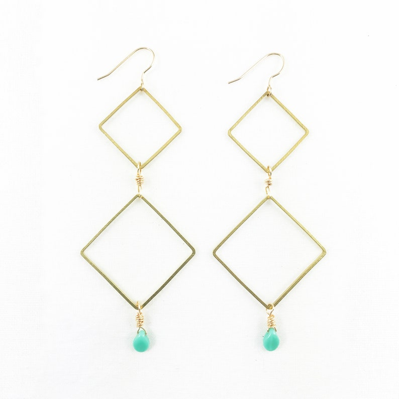 Falling Diamonds Dangle Earrings  Summer Fashion  Statement image 0