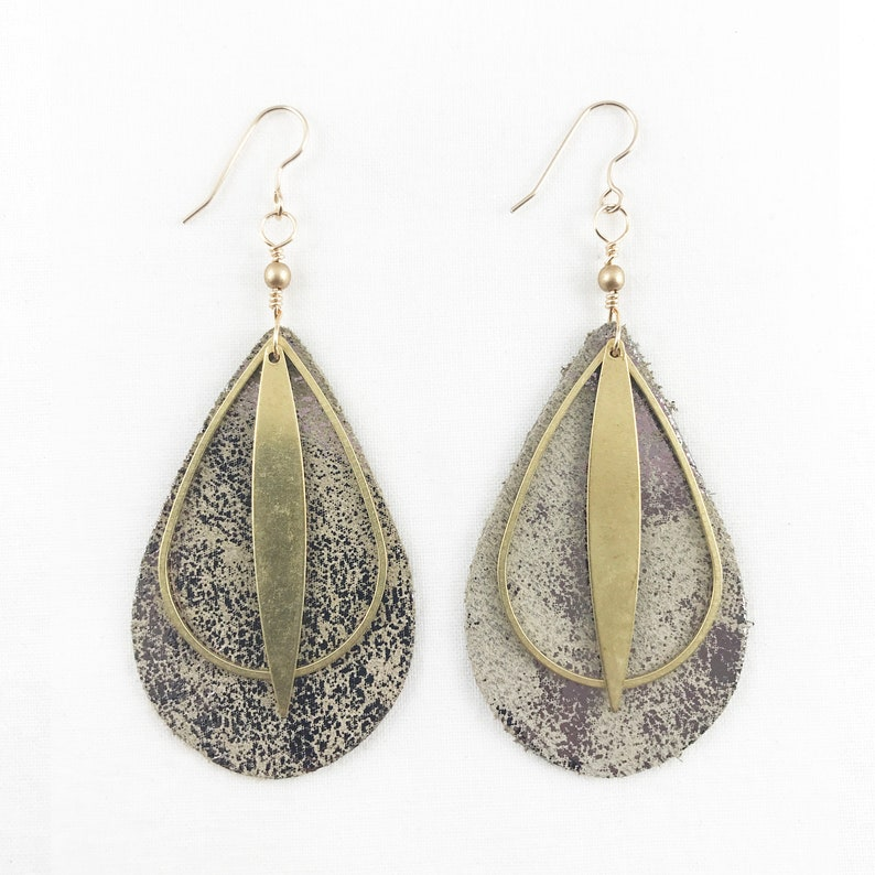 Brass & Distressed Leather Dangle Earrings  Casual  image 0