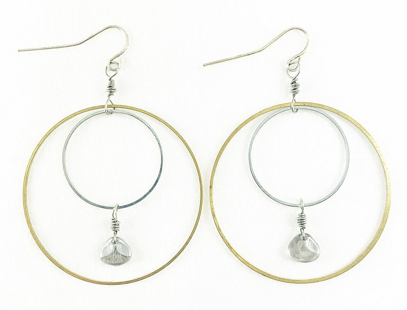 Silver & Brass Rings With Czech Glass Beads Hoop Earrings  image 0