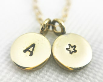 Hand Stamped Brass Letter & Star Mixed Chain Necklace - Monogram - 14k Gold Filled and Brass Chain - Customizable - Adjustable - Great Gift!