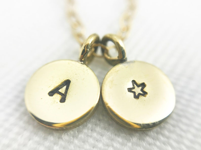 Hand Stamped Brass Letter & Star Mixed Chain Necklace  image 0