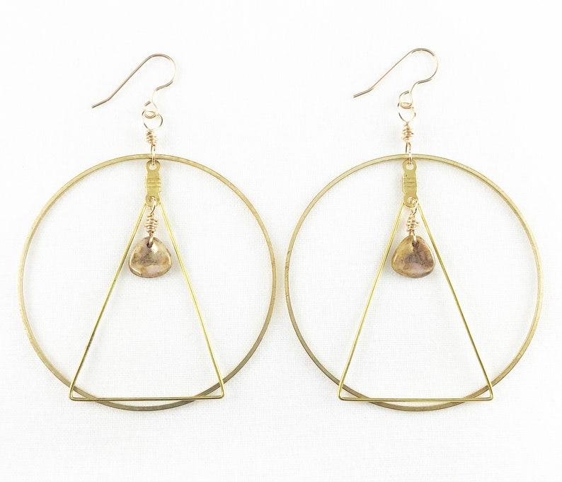 Brass Hoop & Triangle With Czech Glass Beads Hoop Earrings  image 0