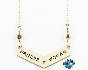 Wander Woman with Star - Hand Stamped - Chevron Necklace - Truly Handmade! - Changing Lanes - Great Gift - Brass - 14k Gold Filled - Bar