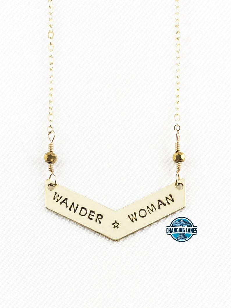 Wander Woman with Star  Hand Stamped  Chevron Necklace  image 0