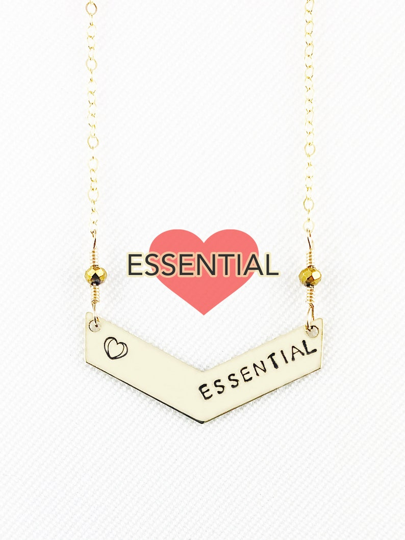Essential With Heart  Hand Stamped  Chevron Necklace  Truly image 0