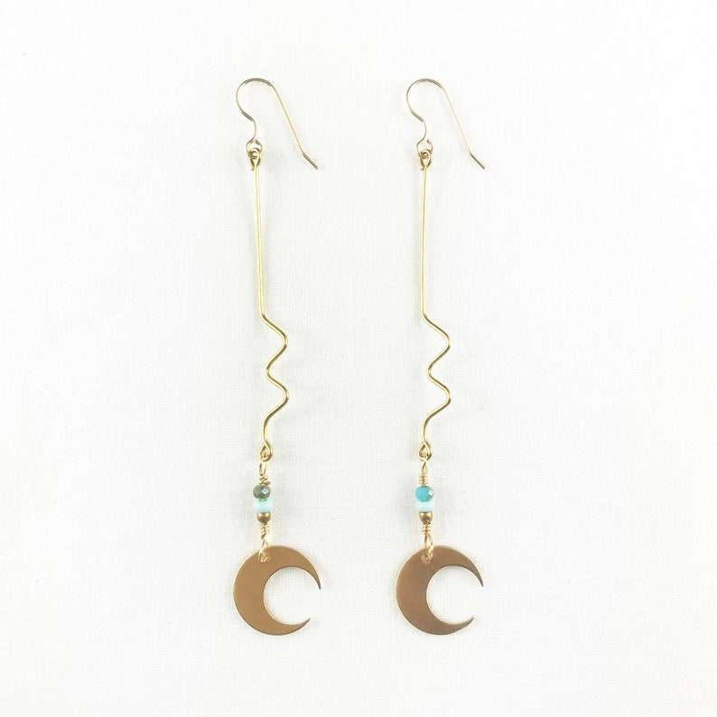 Amazing Brass Crescent Moons Dangle Earrings  Lightweight  image 0