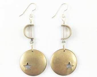 Super Star! Brass With Vibrant Glass Beads Layered Dangle Earrings  - Lightweight - Dainty -Summer Fashion - Geometric - A+ Excellent Gift!