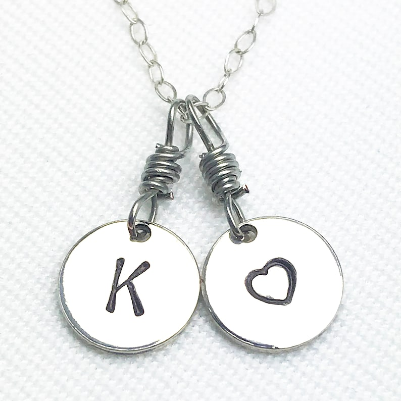 Hand Stamped Silver Letter & Heart Mixed Chain Necklace  image 0