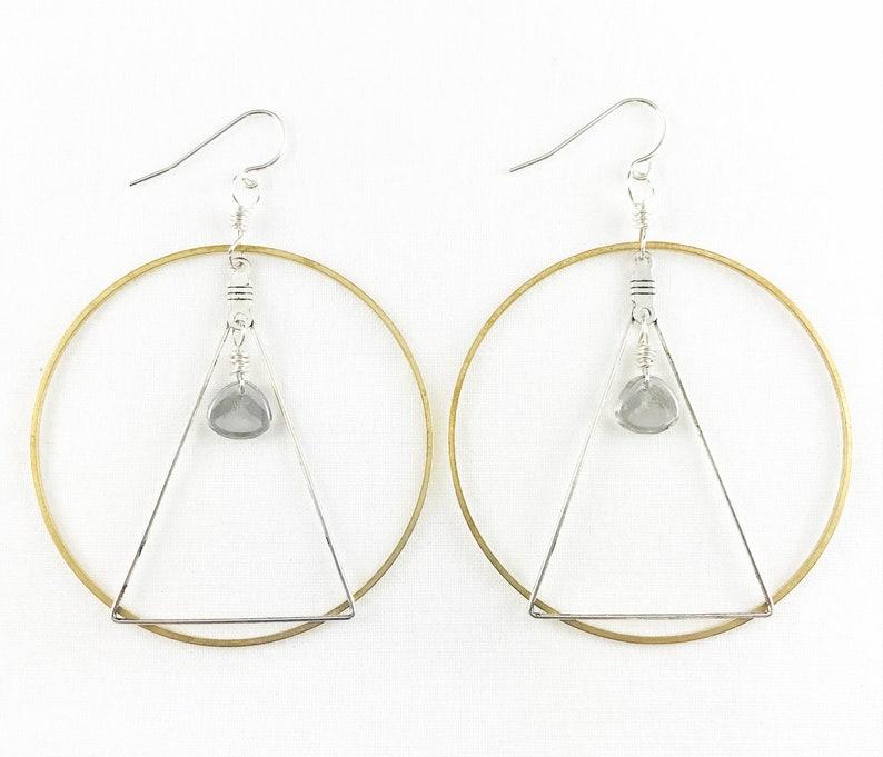Brass Hoop & Silver Triangle With Czech Glass Earrings  image 0