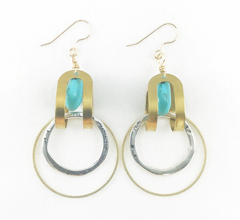 Super Silver & Brass with Turquoise Beads Hoop Earrings  image 0