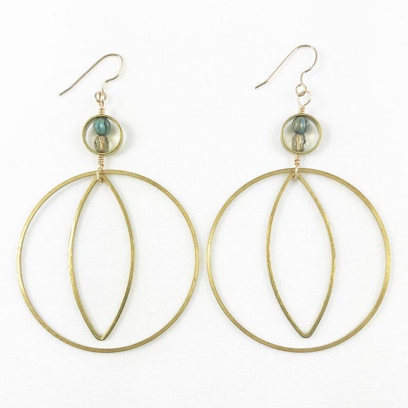 Brass Hoop & Teardrop With Czech Beads Dangle Earrings  image 0