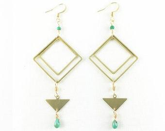 Amazing Brass Diamonds & Triangle with Turquoise Dangle Earrings - Summer Fashion - Lightweight - Elegant - Geometric -Great Gift!