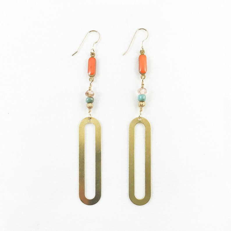 Brass Ovals & Vintage Beads Dangle Earrings  Spring Fashion  image 0