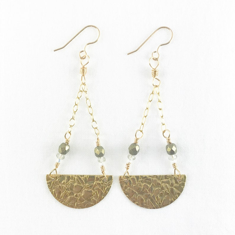 Awesome Textured Brass Pendulum Dangle Earrings  Gold Filled image 0