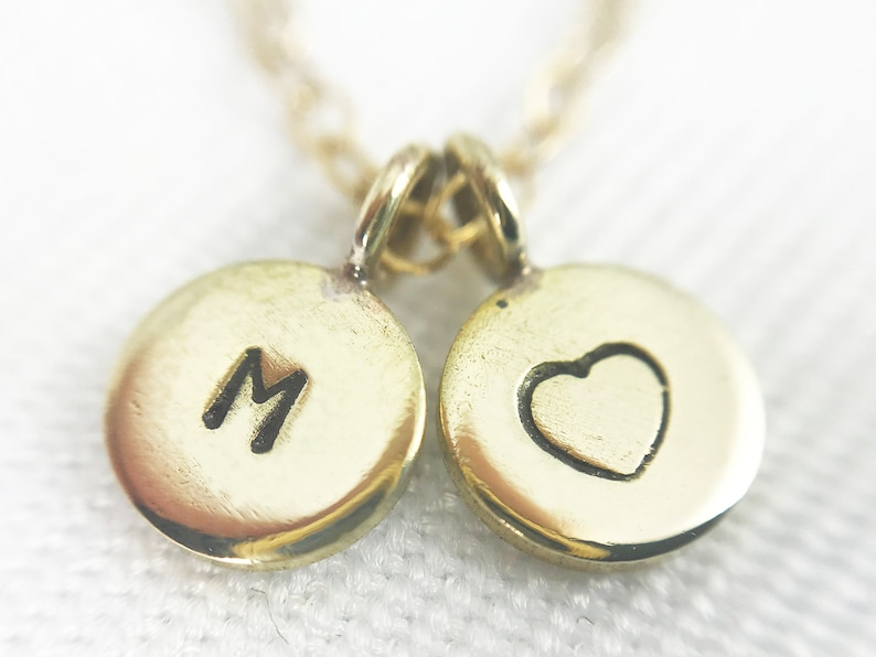 Hand Stamped Brass Letter & Heart Mixed Chain Necklace  image 0