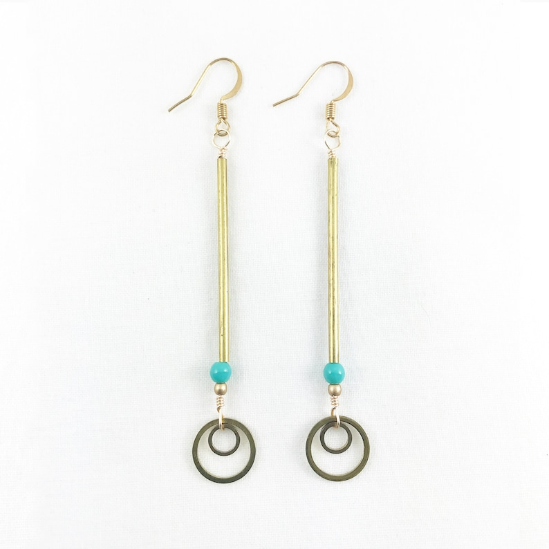 Double Rings On Brass Pole Dangle Earrings  Lightweight  image 0