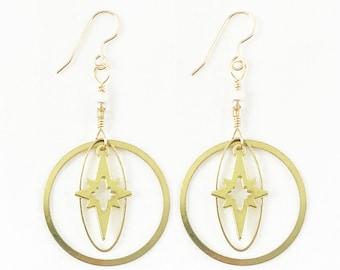 Incredible Starburst! Brass & Vibrant Glass Beads Dangle Earrings - Sunshine - Dainty - Sunny Summer Fashion - Geometric - A+ Amazing Gift!