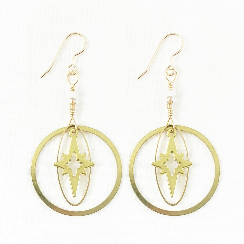 Incredible Starburst Brass & Vibrant Glass Beads Dangle image 0