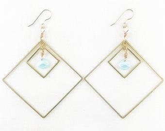 Double Diamonds Dangle Earrings - Summer Fashion - Statement - Lightweight - Dainty  - Elegant - Geometric - Gorgeous Super A+ Gift!