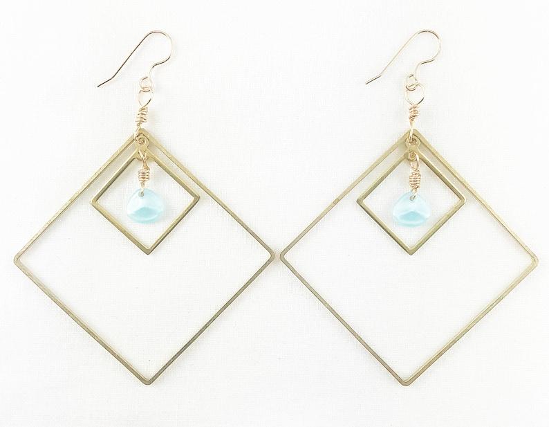 Double Diamonds Dangle Earrings  Spring Fashion  Statement  image 0