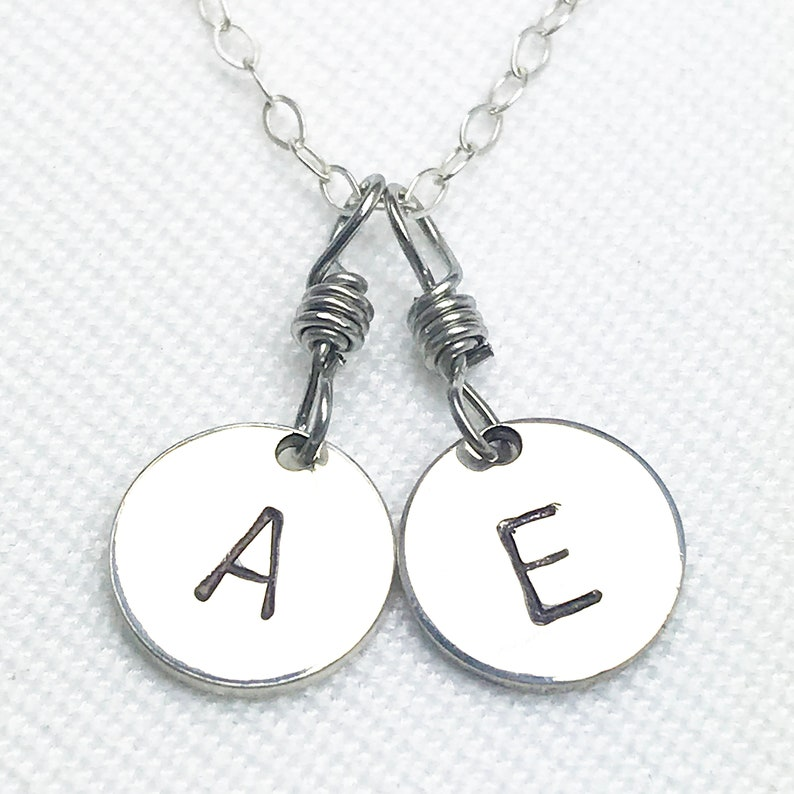 Hand Stamped Silver Double Letter Mixed Chain Necklace  image 0