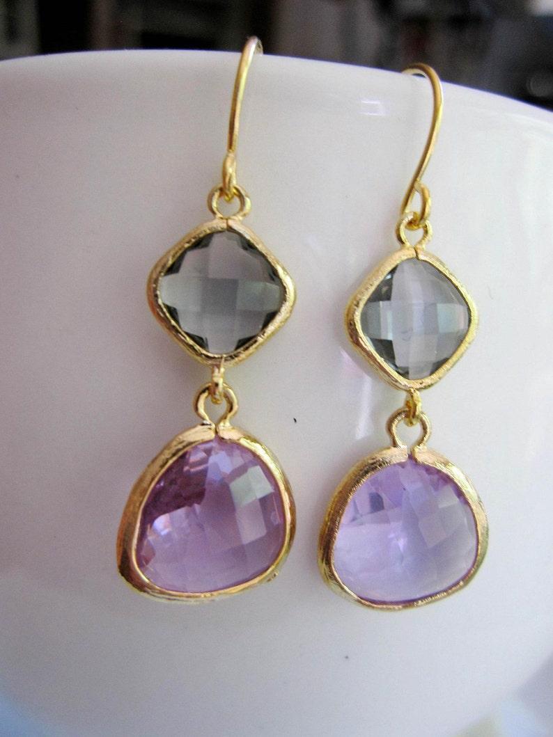 Bridesmaid Earrings Gardendiva Gold Earrings Wedding Jewelry Gray and Lavender Earrings Two Color Glass earrings Bridal