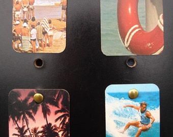 Upcycled Mini Collages At the Beach Surfing Palm Trees Nautical Endless Summer set of 4 FREE SHIPPING