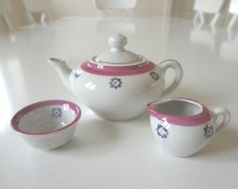 Vintage Child's Tea Set Pink and Blue Design Mid Century Teapot, Teacups, Saucers - Tea Party - EnglishPreserves