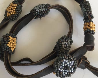 Leather and Beads Wrap Bracelet