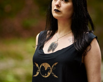 Triple Moon Phase Goddess Loose Fit Crop Tank Top Black