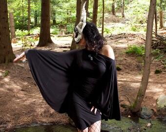Bat Wing Long Sleeve Black Dress