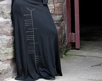 Long Black Maxi Skirt Ogham Print Celtic Witch