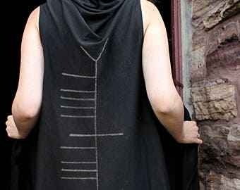 Ogham Celtic Warrior Flowing Hooded Shawl Wrap Vest Shirt