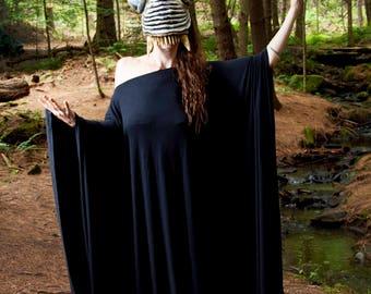 Long Black Kaftan  Dress Long Sleeve Off the Shoulder Maxi Over Size Large Dress