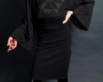 Black High Waist Pencil Skirt Knee Length