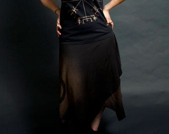 Layered Witchy Pixie Skirt Black Wolf Choose Print