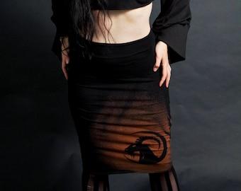 Moon Goat Black High Waist Pencil Skirt Knee Length Other Prints Available