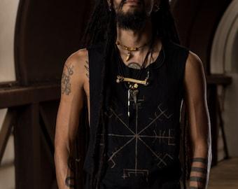 Vegvisir Viking Compass Mens Sleeveless Black Tee Shirt