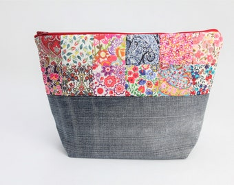 Red patchwork Liberty London zipper pouch small project bag knitting