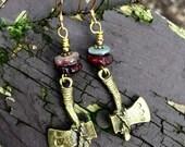 Brass Hatch Dangle Earrin...