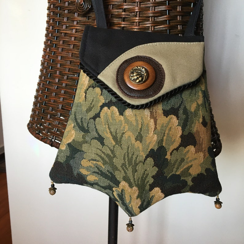 Tapestry Jeweled Pocket With Acorn Adornment And Cross Body image 0