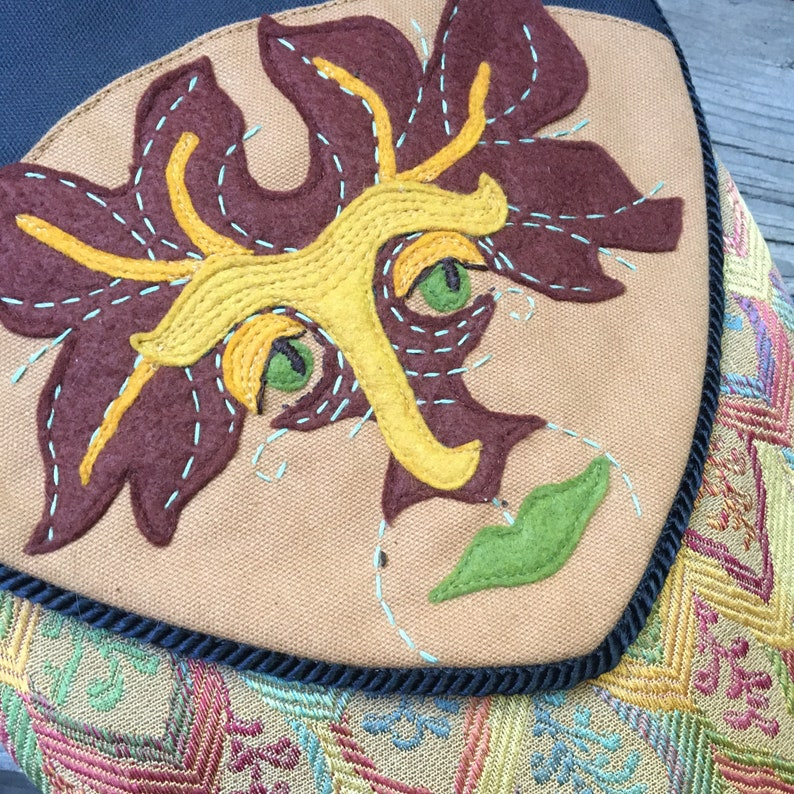 Extra Large FINN Double Sided Bag Wool Felted Green Man image 0